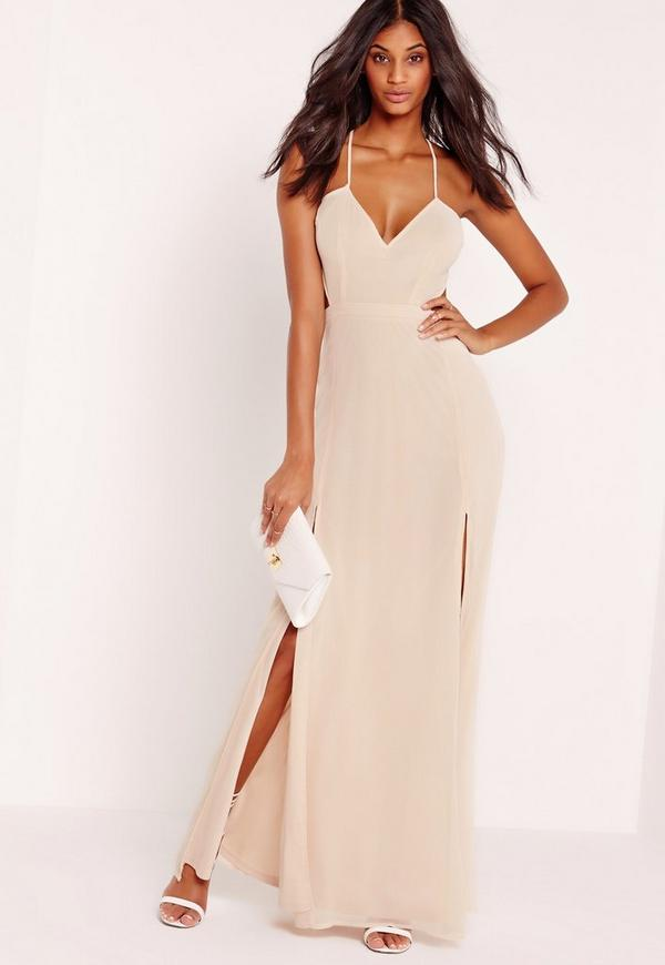 Strappy Cut Out Maxi Dress Nude