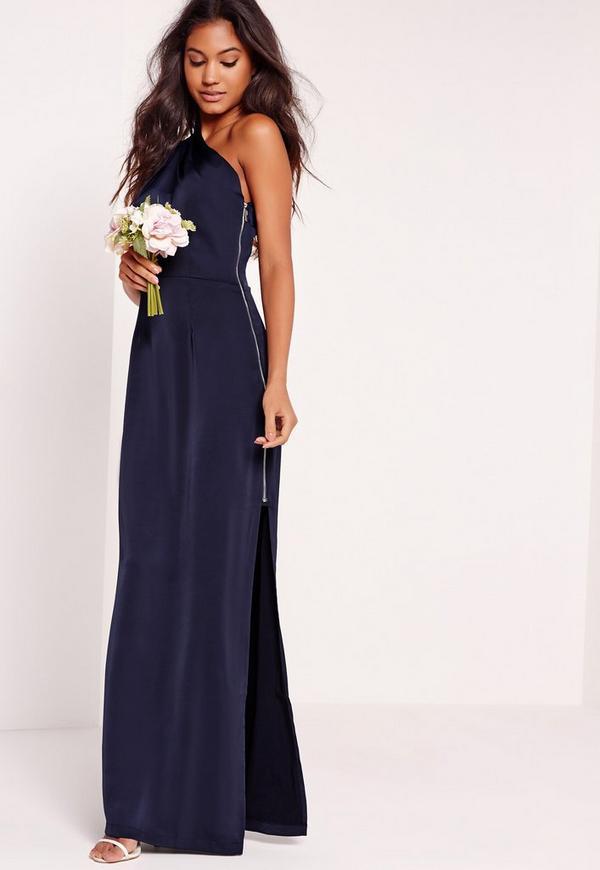 robe longue bleu marine asym trique missguided. Black Bedroom Furniture Sets. Home Design Ideas