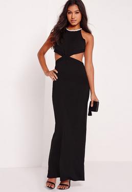 Embellished Neck Cut Out Maxi Dress Black