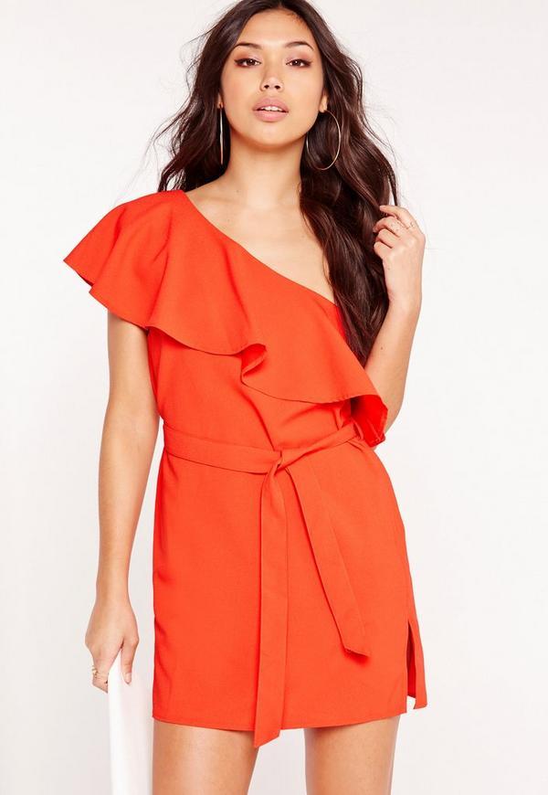 Satin One Shoulder Dress Orange