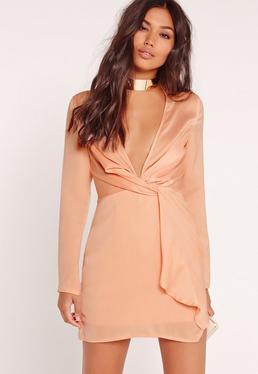 Silky Plunge Wrap Shift Dress Nude