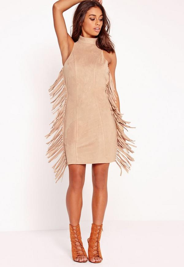 Faux Suede Tassel Bodycon Dress Sand