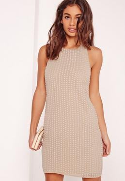 Beaded Halter Neck Bodycon Dress Nude