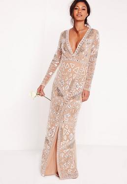 Ślubna srebrna cekinowa kopertowa sukienka maxi