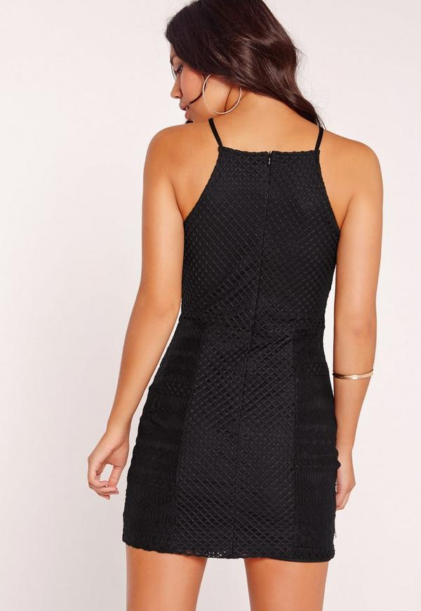 Black bodycon basic dress in missguided neck square the usa