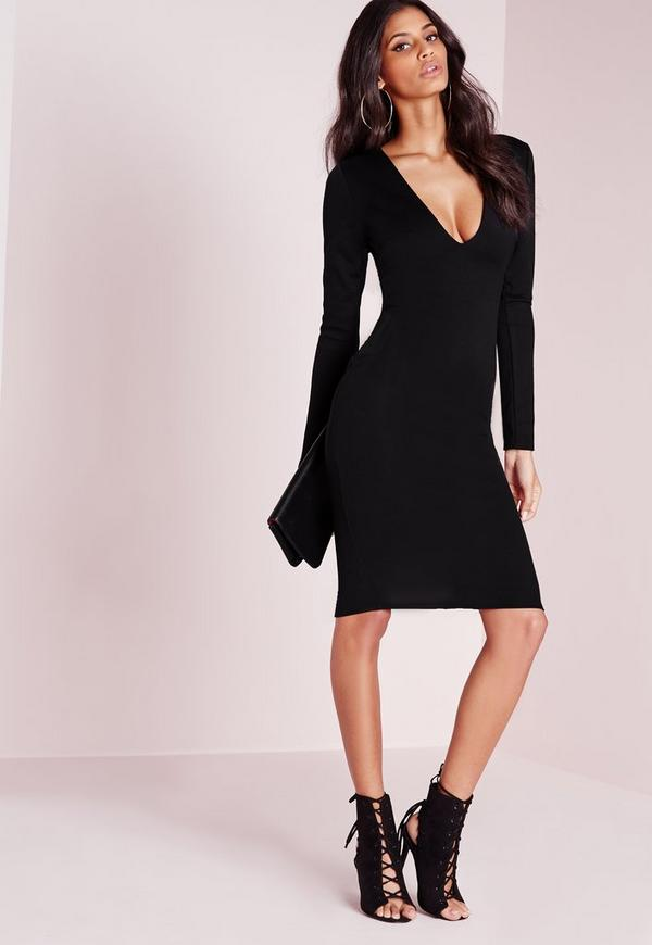 Ponte Long Sleeve Midi Dress Black