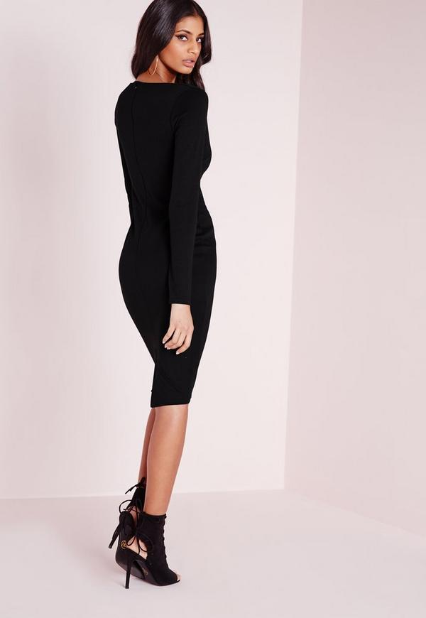 A black long sleeve dress