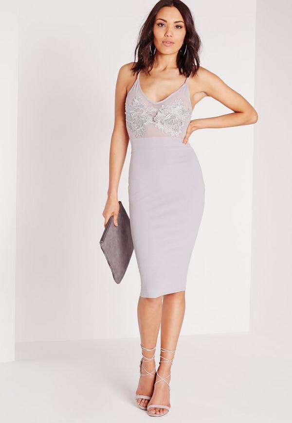 Embroidered Bust Detail Bodycon Dress Ice Grey