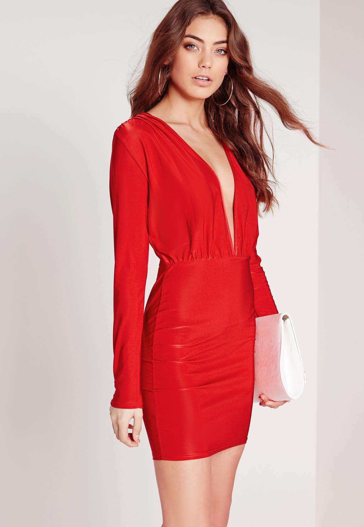 Slinky Long Sleeve Bodycon Dress Red | Missguided