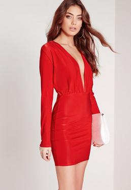 Slinky Long Sleeve Bodycon Dress Red