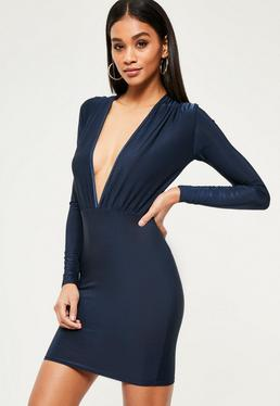 Slinky Long Sleeve Bodycon Dress Navy