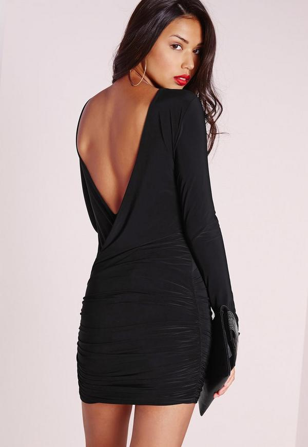 Slinky Drape Back Ruched Bodycon Dress Black