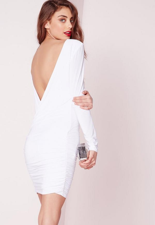 Slinky Drape Back Ruched Bodycon Dress White