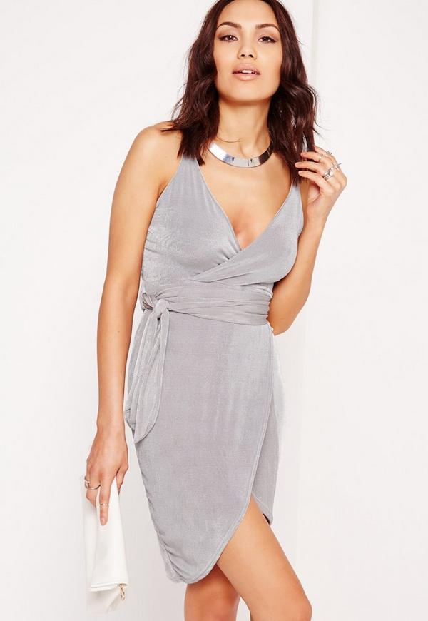 Strappy Slinky Tie Waist Bodycon Dress Grey
