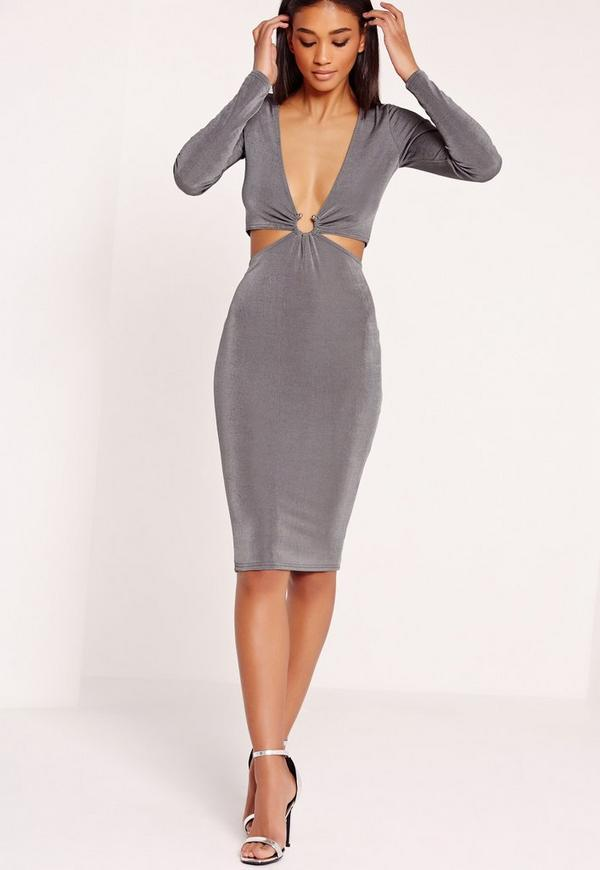 Long Sleeve Slinky Ring Detail Midi Dress Grey