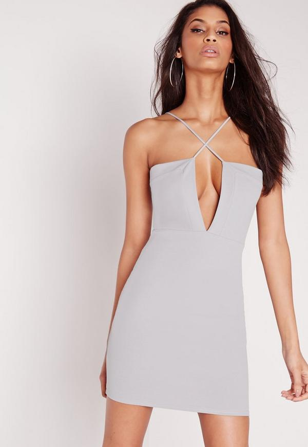 Crepe Strappy Cross Front Mini Dress Grey