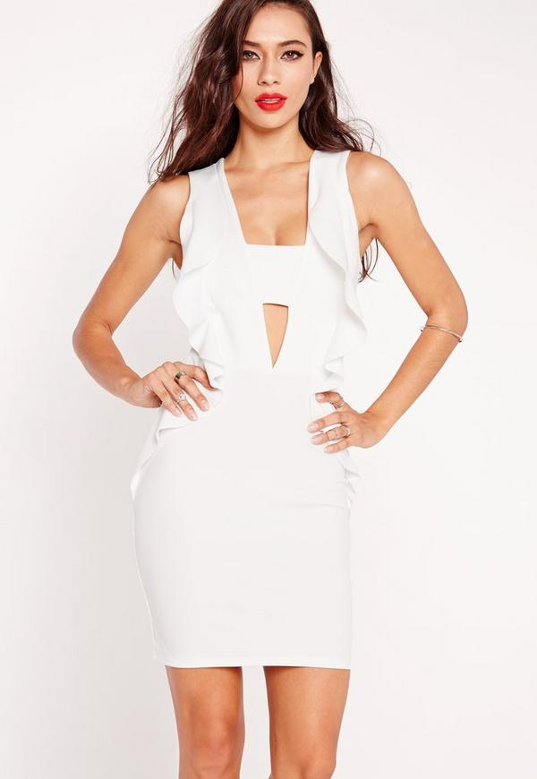 Frill Side Cut Out Bodycon Dress White