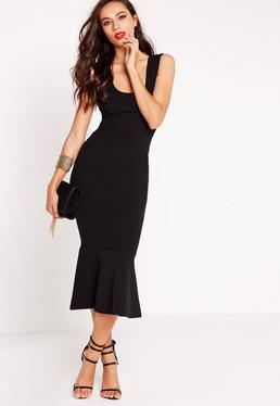 Scuba Flared Hem Midi Dress Black