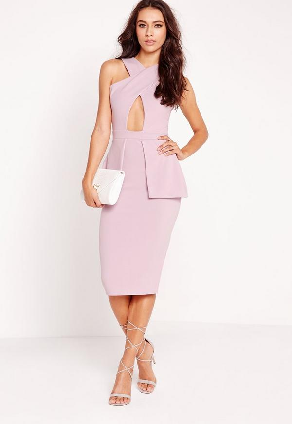 Cross Over Peplum Midi Dress Lilac