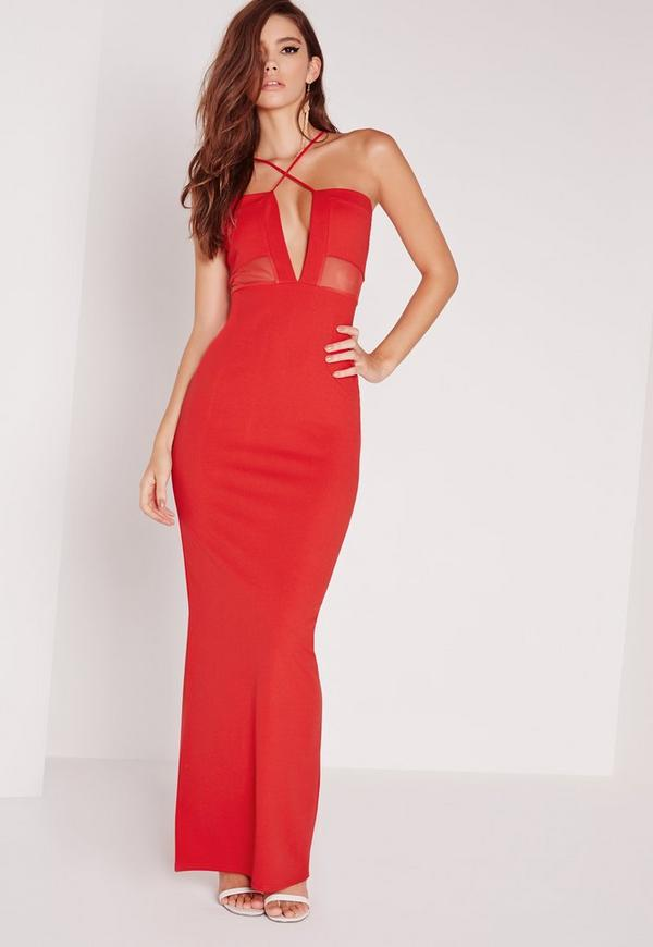 Cross Strap Mesh Insert Maxi Dress Red