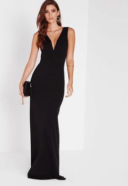 Vestido largo con cuello en v escotado negro