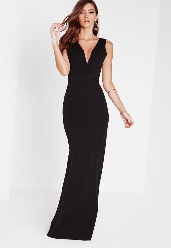 V Plunge Maxi Dress Black Missguided
