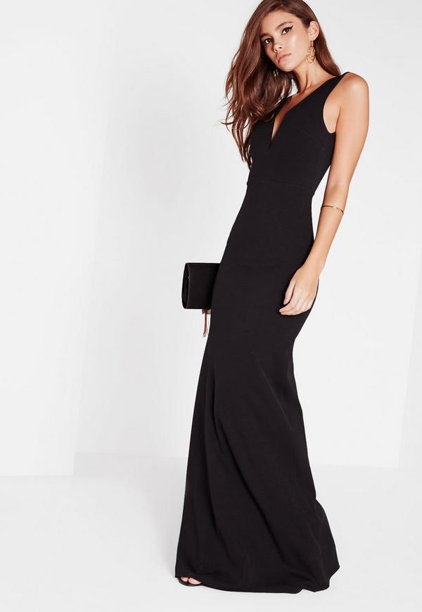 Vestido largo con escote en v negro | Missguided