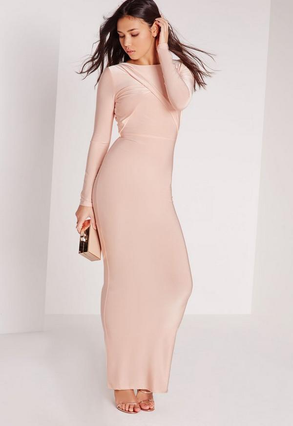 Slinky Long Sleeve Low Back Maxi Dress Champagne