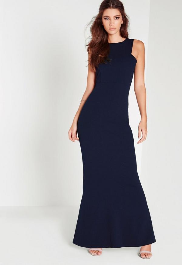 robe longue bleu marine dos chancr missguided. Black Bedroom Furniture Sets. Home Design Ideas