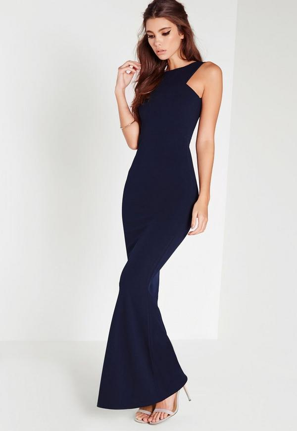 Low Back Maxi Dress Navy | Missguided