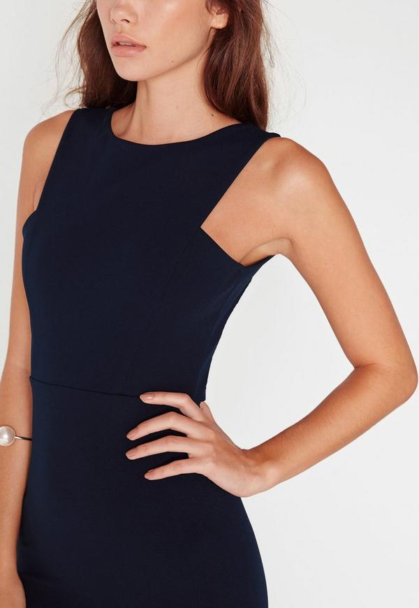 Low Back Maxi Dress Navy Missguided
