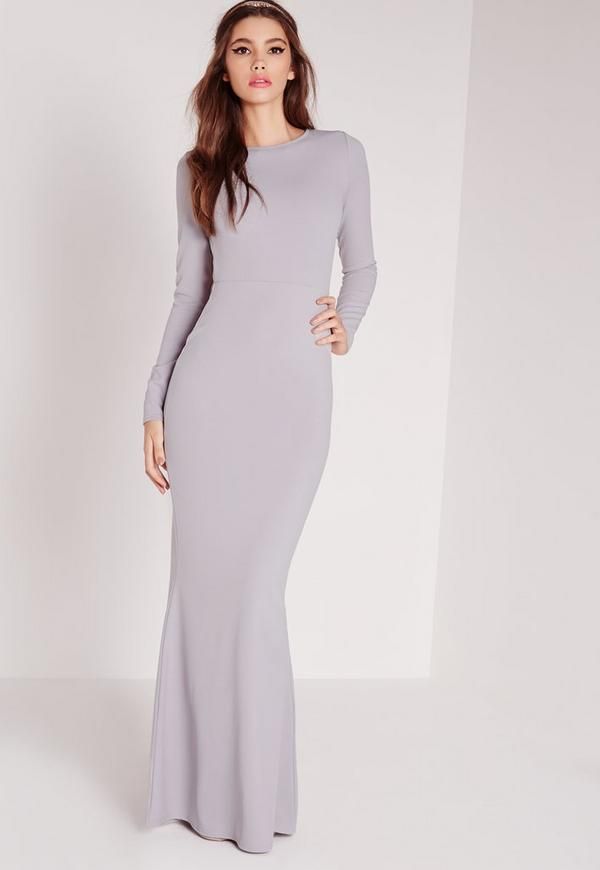 Long Sleeve Open Back Maxi Dress Grey