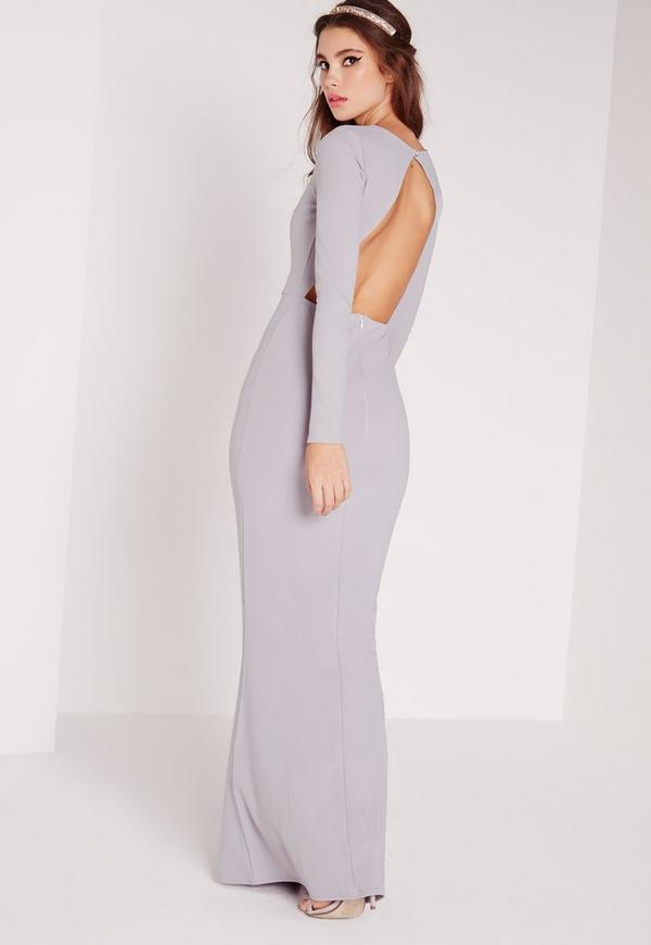 long sleeve open back maxi dress grey - missguided