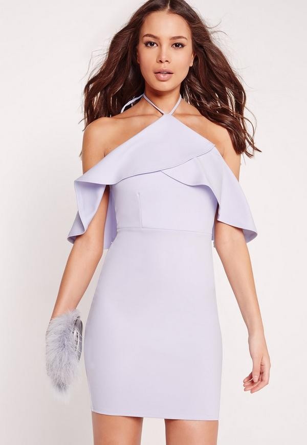 Textured Frill Open Shoulder Bodycon Dress Lilac