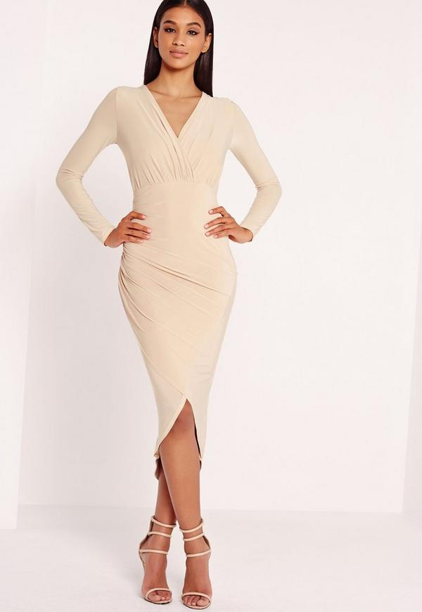 Slinky Wrap Over Midi Dress Nude