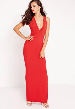 Plunge Cross Back Maxi Dress Red