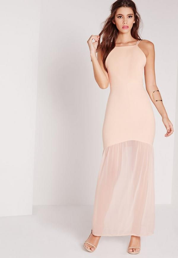 Strappy Mesh Fishtail Maxi Dress Nude