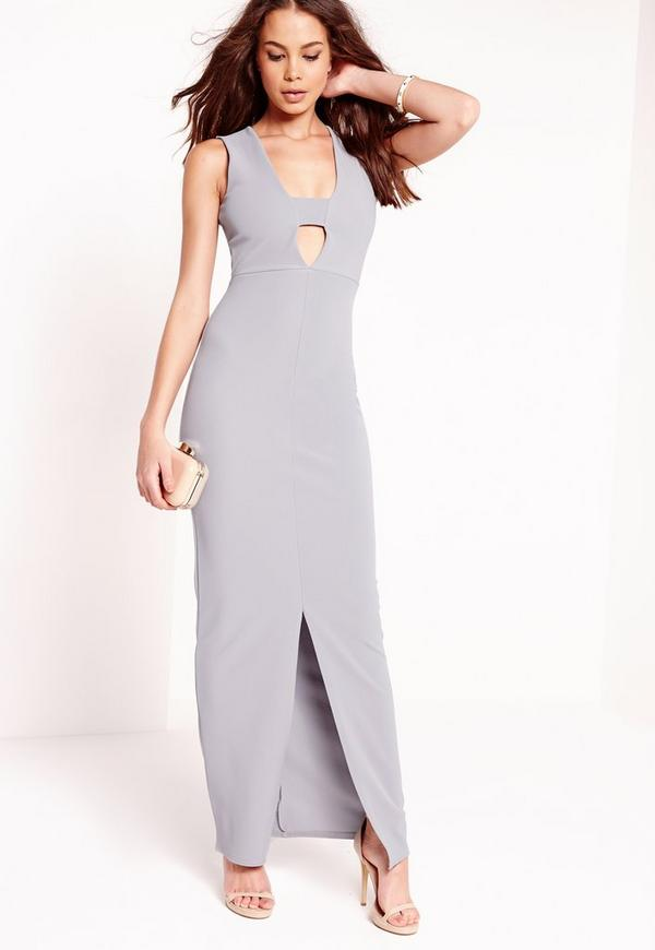 Cut out front split Maxi Dress Grey
