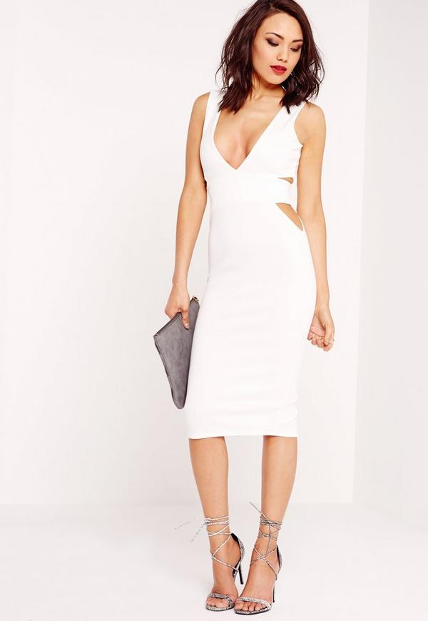 Stretch Crepe Plunge Cut Out Midi Dress White