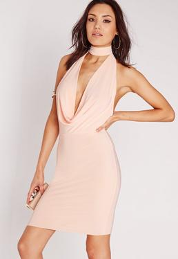 choker bodycon dress nude