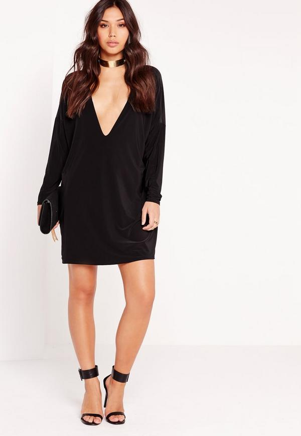 Slinky Plunge Oversized Swing Dress Black