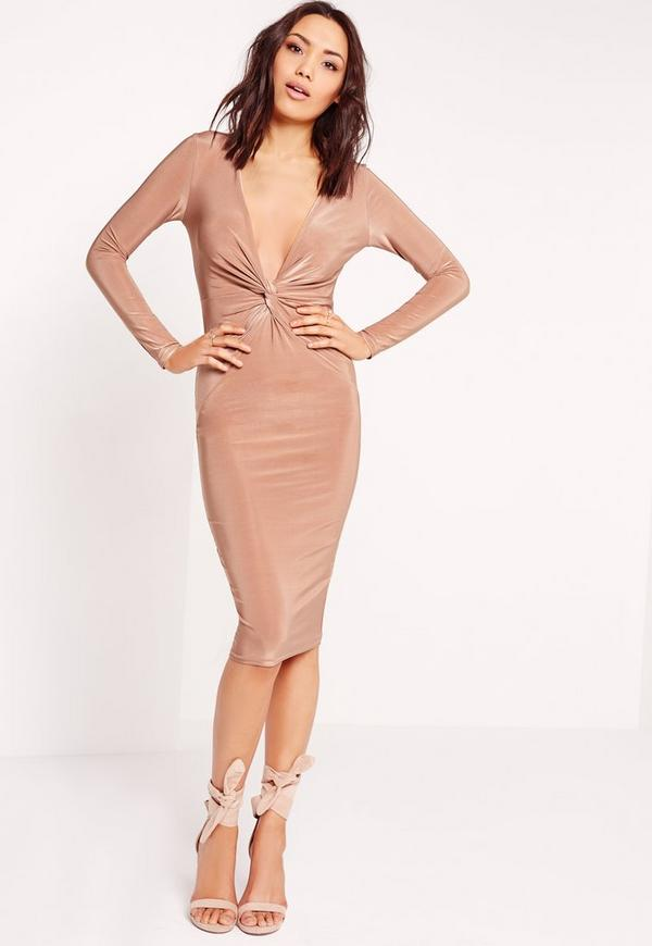 Slinky Knot Front Midi Dress Nude