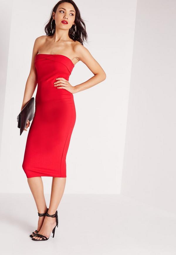 Layered Bandeau Midi Dress Red