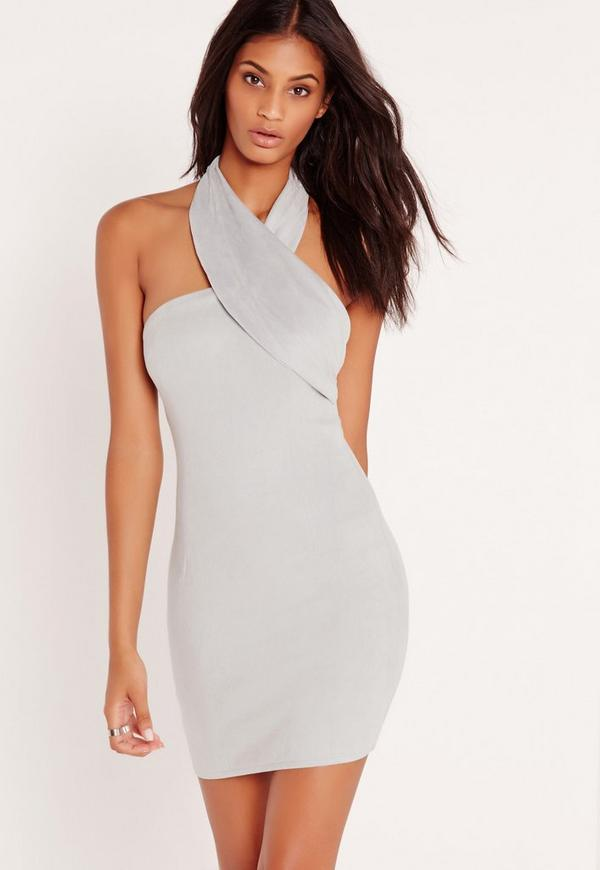 Grey Faux Suede Wrap Neck Bodycon Dress