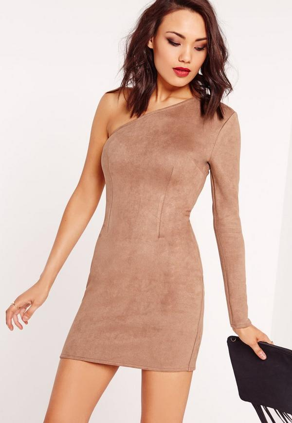 Faux Suede One Shoulder Bodycon Dress Toffee