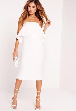 Biała Sukienka Bardotka za Kolano z Falbanką