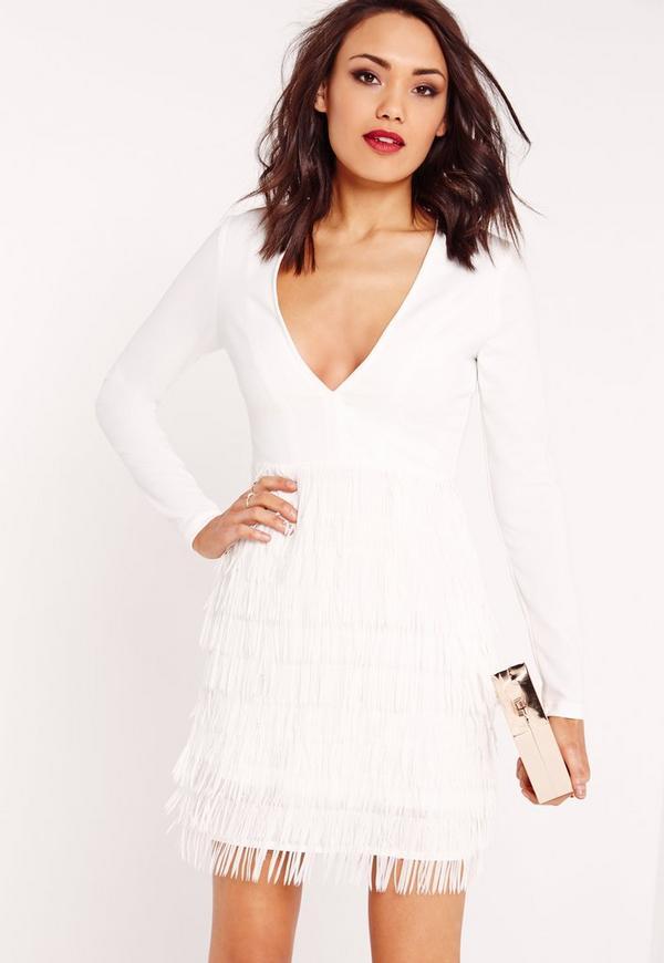 Plunge Fringed Skirt Bodycon Dress White