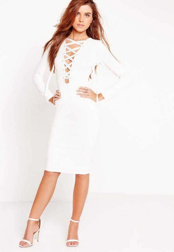 Long Sleeve Lace Up Plunge Bodycon Dress White