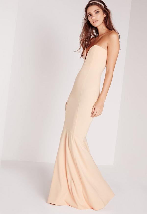 Scuba Bandeau Fishtail Maxi Dress Nude | Missguided