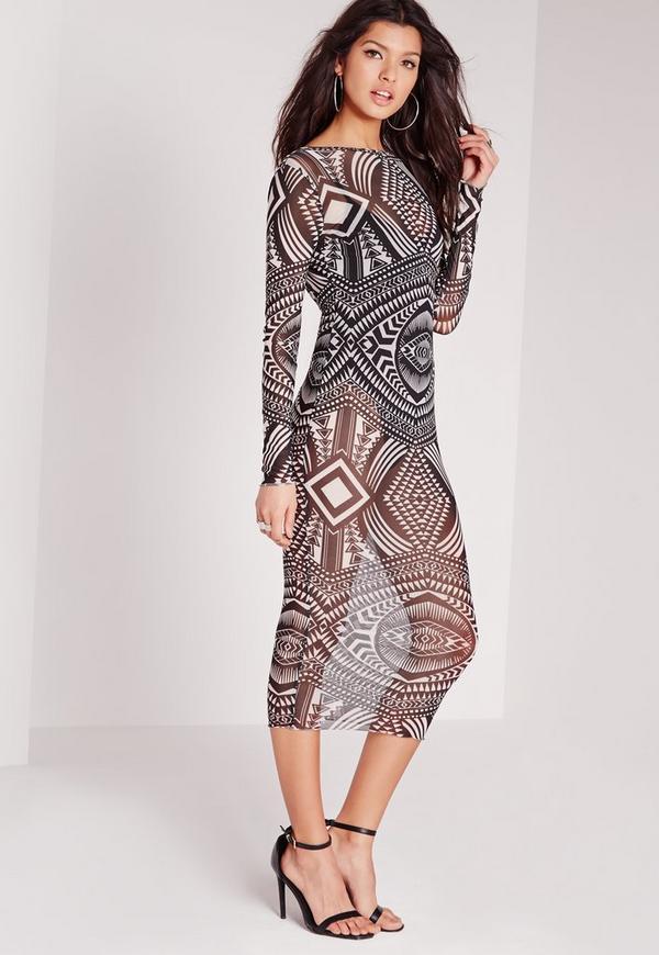 Printed Mesh Midi Dress Monochrome